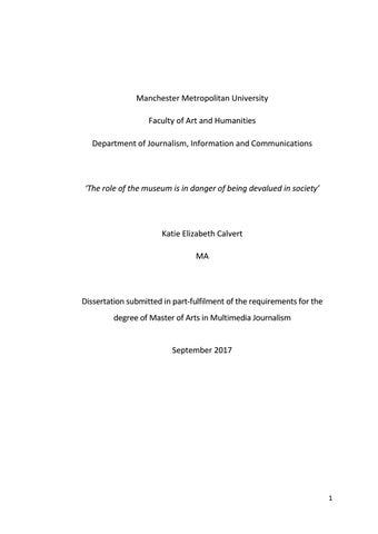 Manchester Metropolitan University Faculty of Art and Humanities Department  of Journalism, Information and Communications
