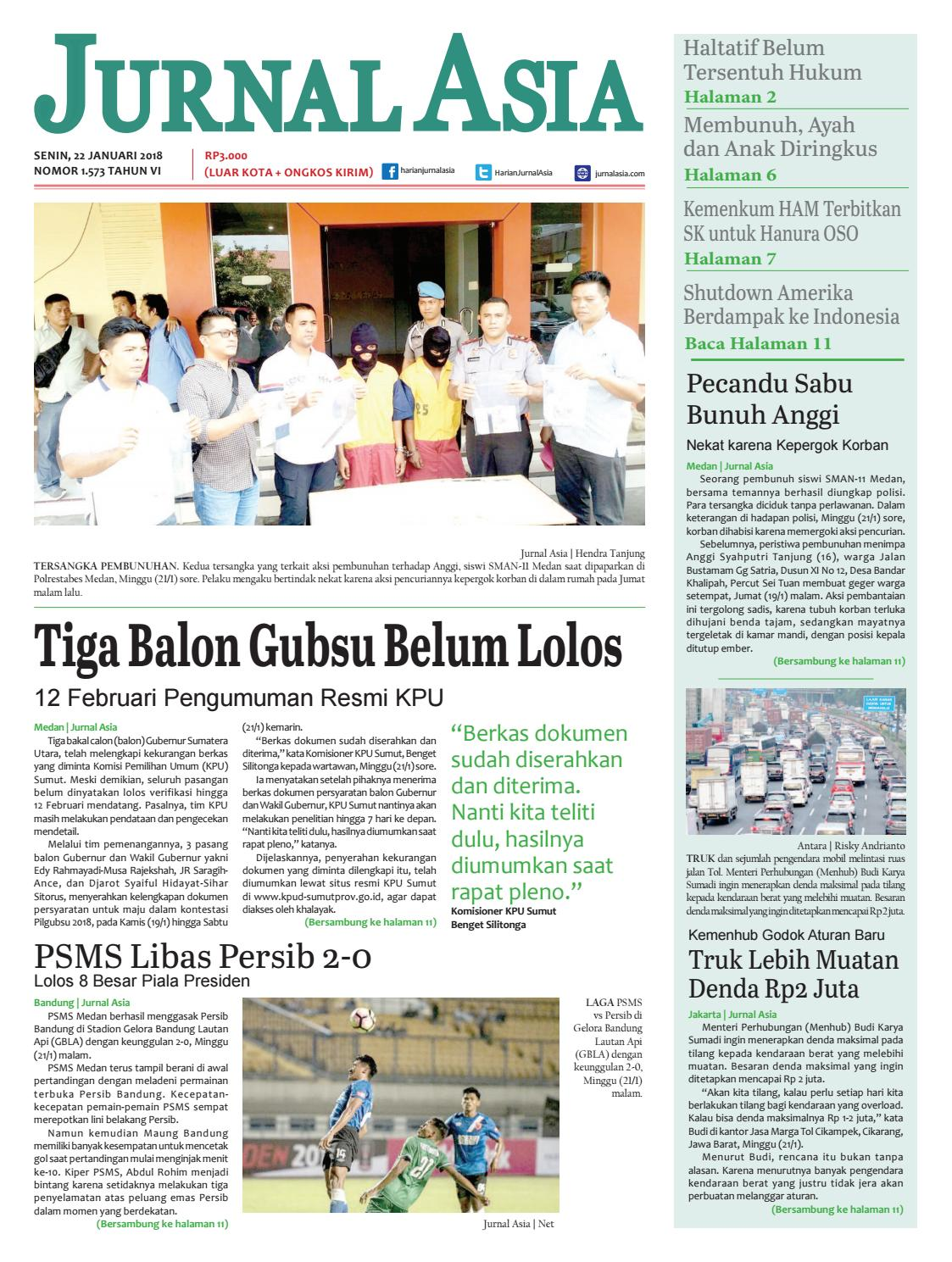 Harian Jurnal Asia Edisi Senin 22 Januari 2018 By Harian Jurnal Asia Medan Issuu
