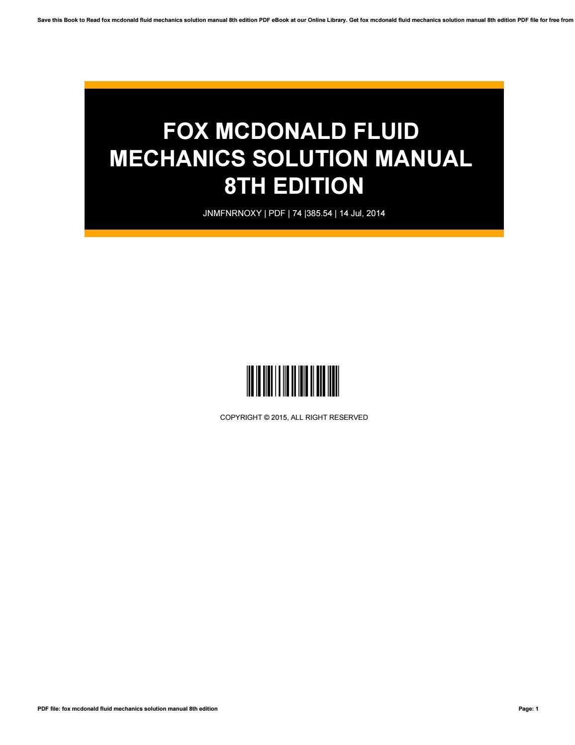 Fox mcdonald fluid mechanics solution manual 8th edition by e-mailbox85 -  issuu