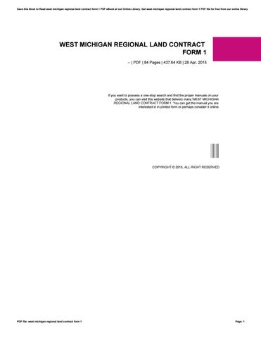 West Michigan Regional Land Contract Form  By O  Issuu