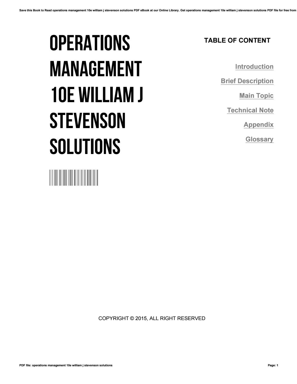 stevenson operations management 4ce Operations management (operations and decision sciences) [william  stevenson] on amazoncom free shipping on qualifying offers the eleventh  edition.