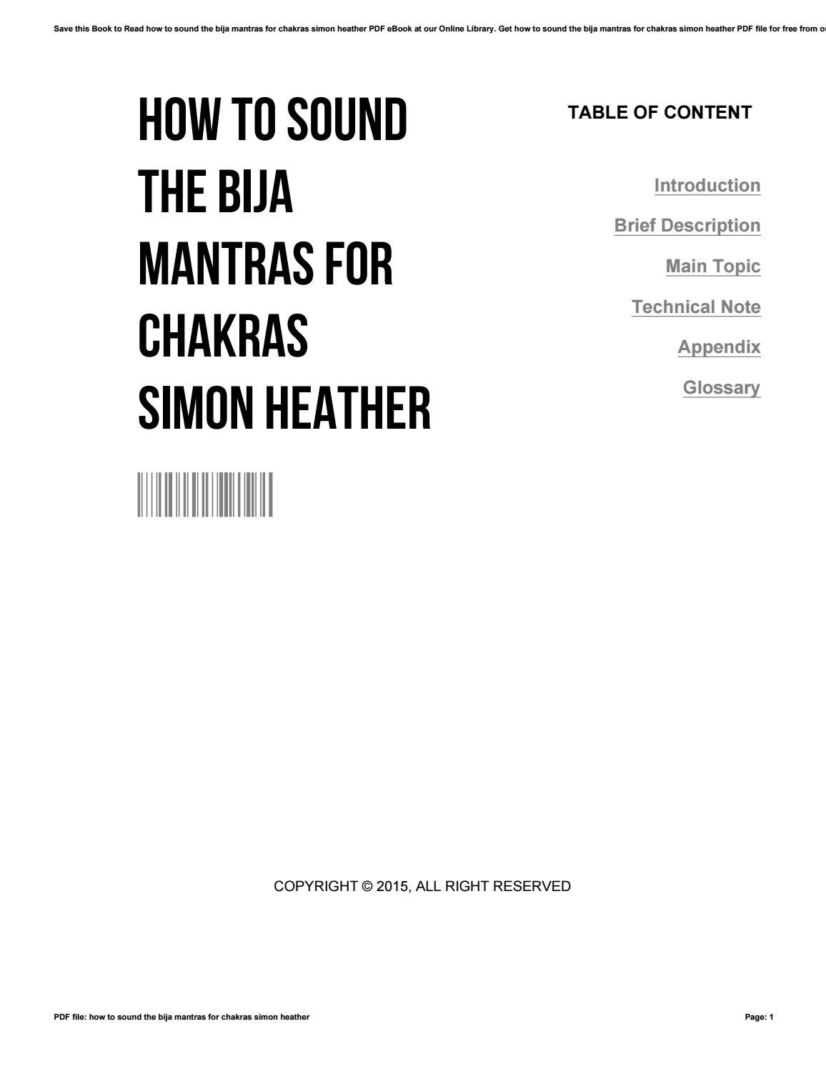 How to sound the bija mantras for chakras simon heather by