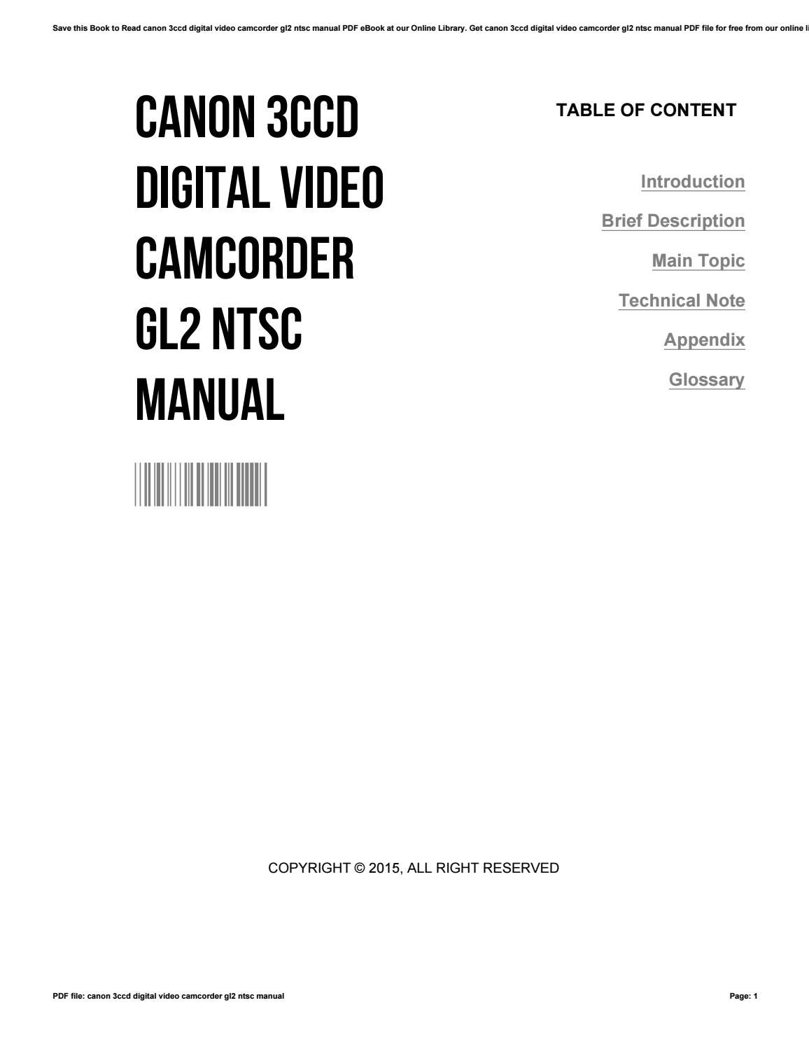 Canon gl2 user manual canon hv30 edit array canon 3ccd digital video camcorder gl2 ntsc manual by smallker66 issuu rh issuu fandeluxe Choice Image