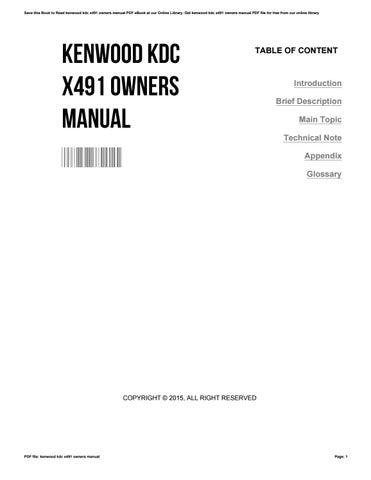 kenwood kdc x491 manual