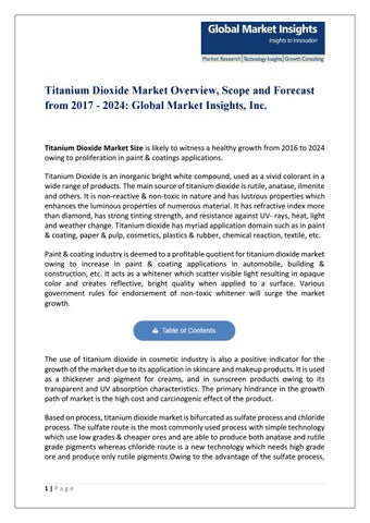 Pdf for titanium dioxide market, 2017 by Global Market