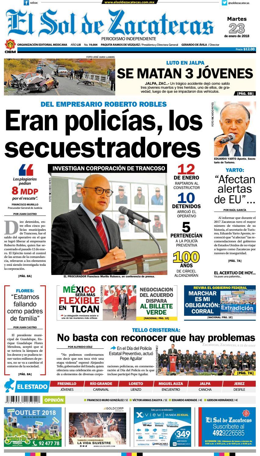 f5e2f06dbfff5 El Sol de Zacatecas 23 de enero 2018 by El Sol de Zacatecas - issuu
