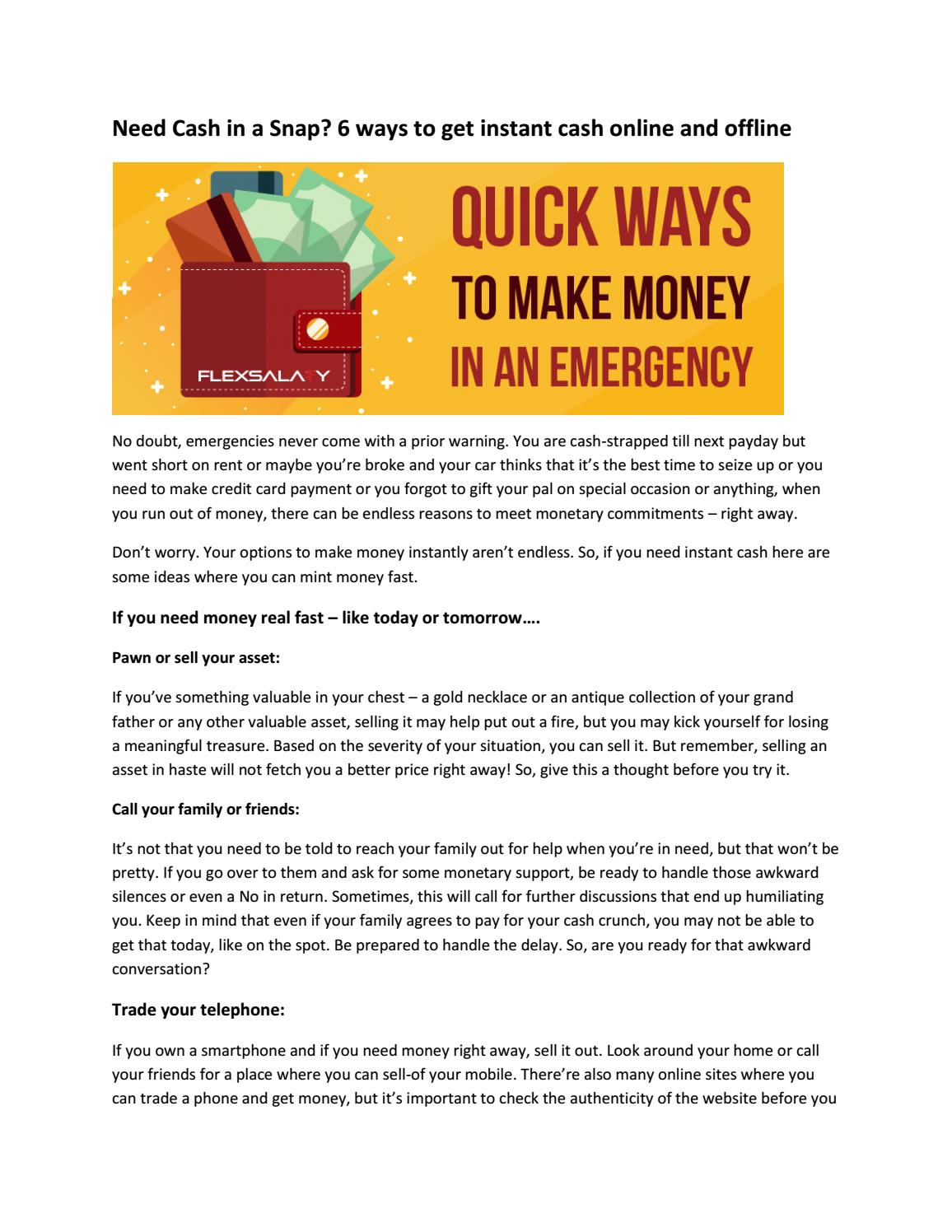 Need cash in a snap 6 ways to get instant cash online and