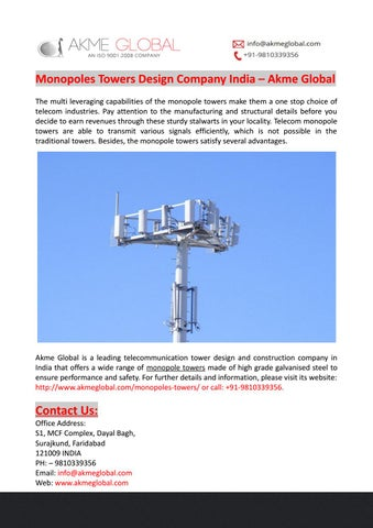 Monopoles Towers Design Company India – Akme Global by Akme