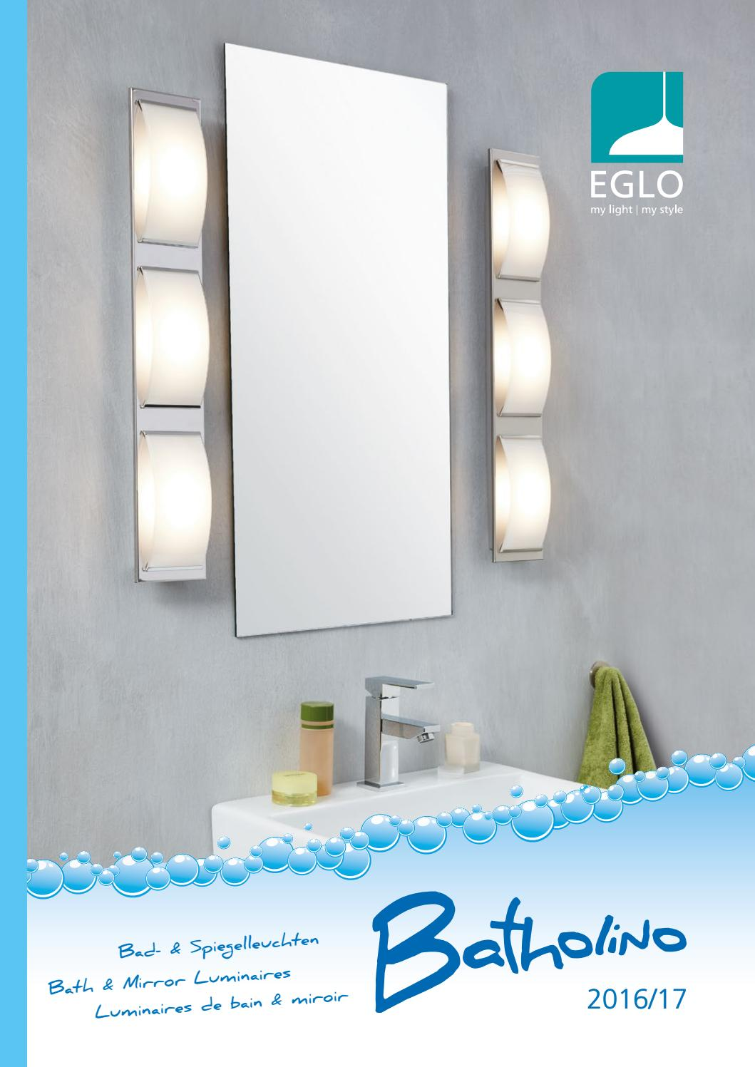 Eglo 94614 Tabiano DEL miroir lampe 2 x 32 W Acier Nickel-Mat Plastique Weis