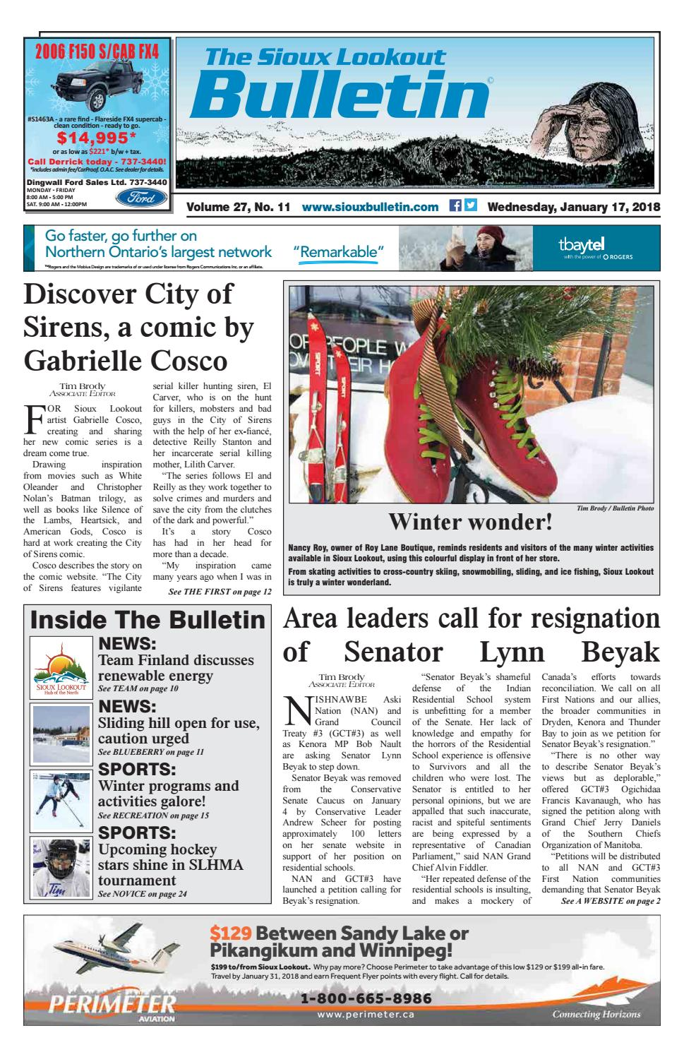 The Sioux Lookout Bulletin - Vol  27, No  11, January 17, 2018 by