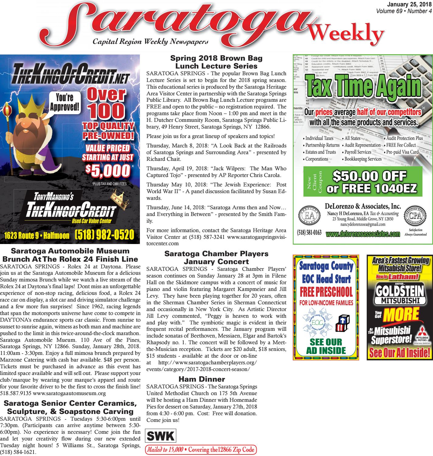 Saratoga Weekly 012518 by Capital Region Weekly Newspapers