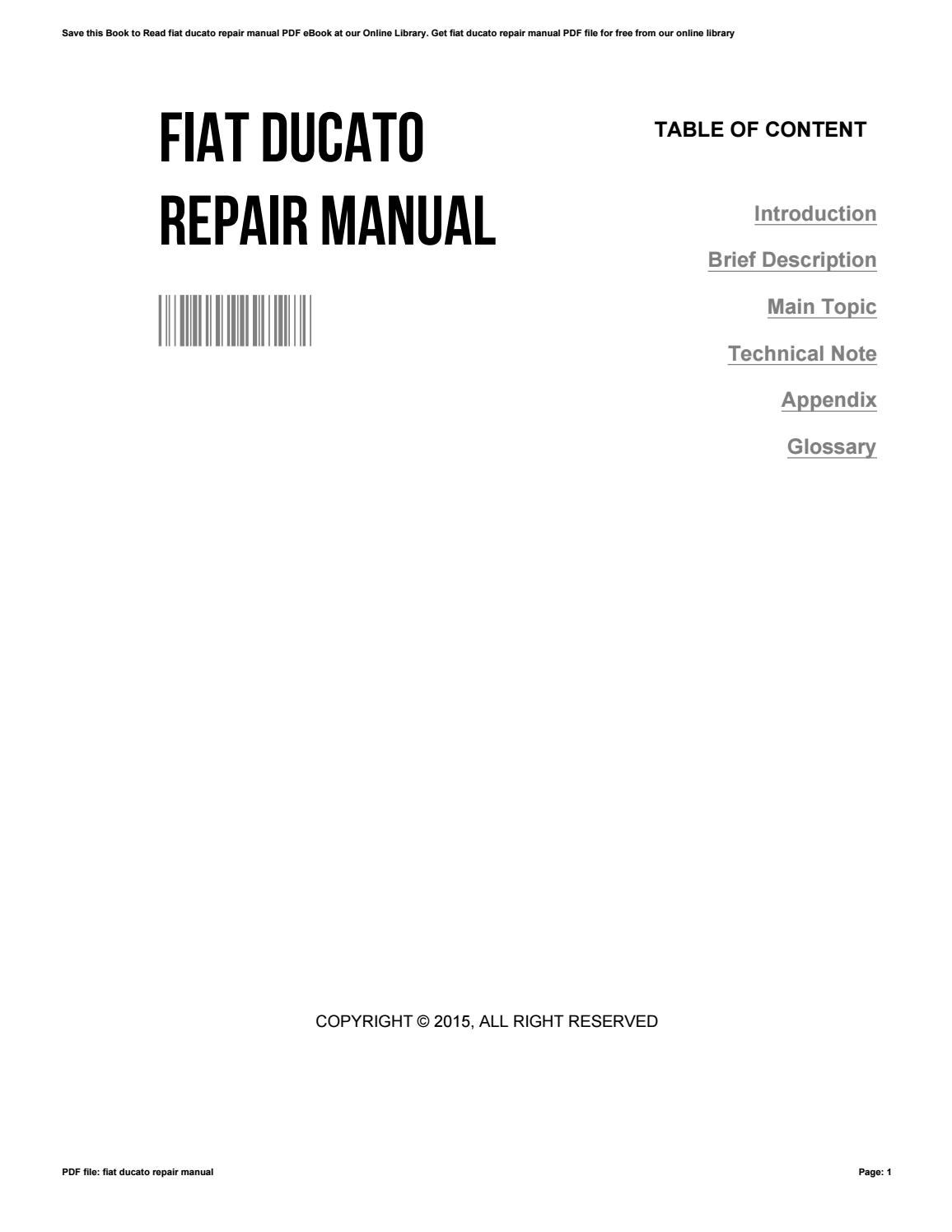 fiat ducato workshop manual ebook