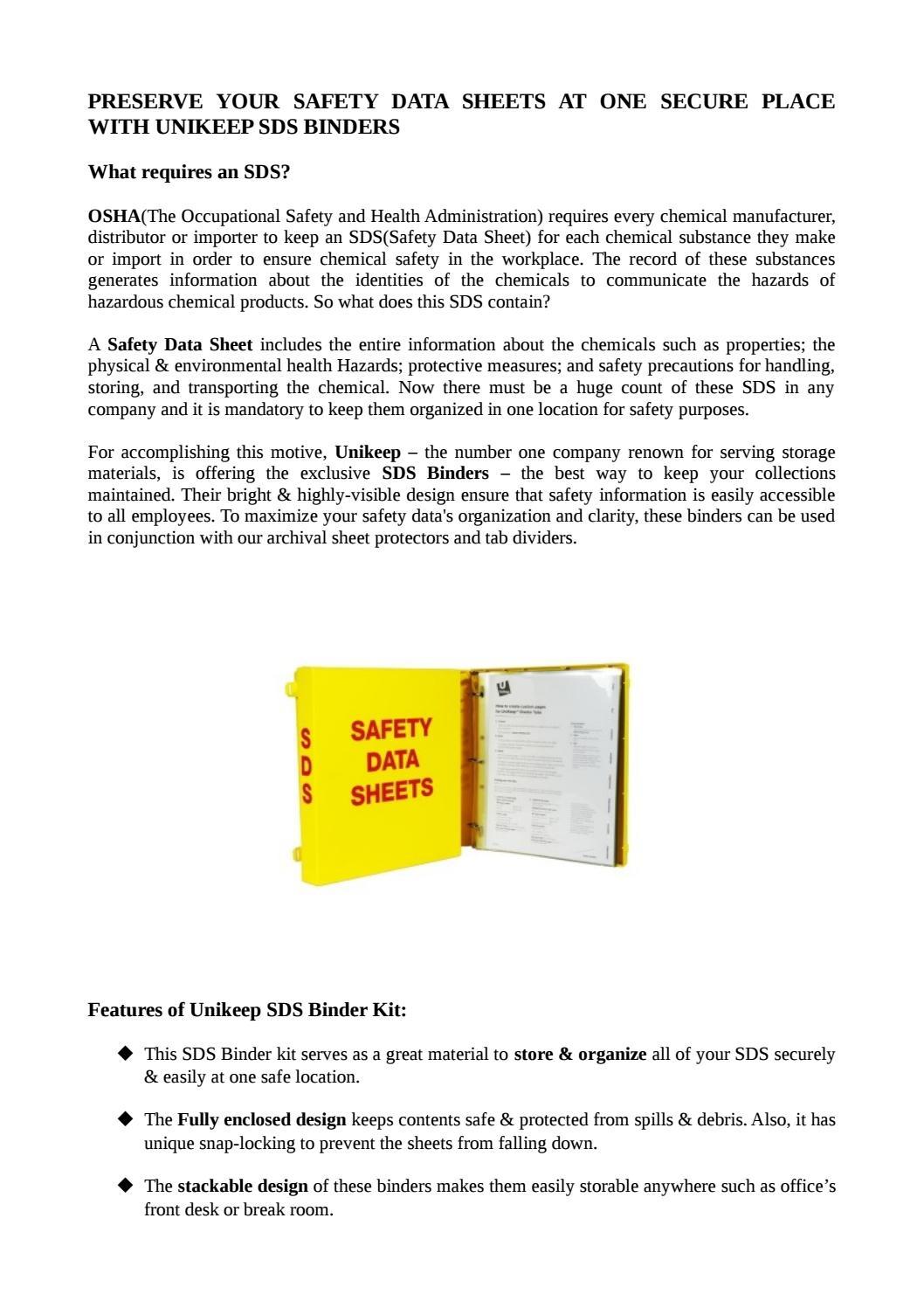 "MSDS Binder OSHA Right To Know 1.5/""  Bilingual Safety Data Sheet Binder"