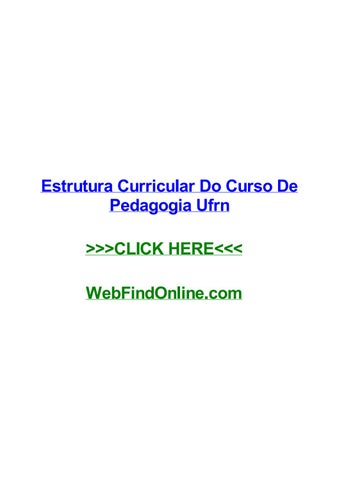 Estrutura Curricular Do Curso De Pedagogia Ufrn By Willqpwl