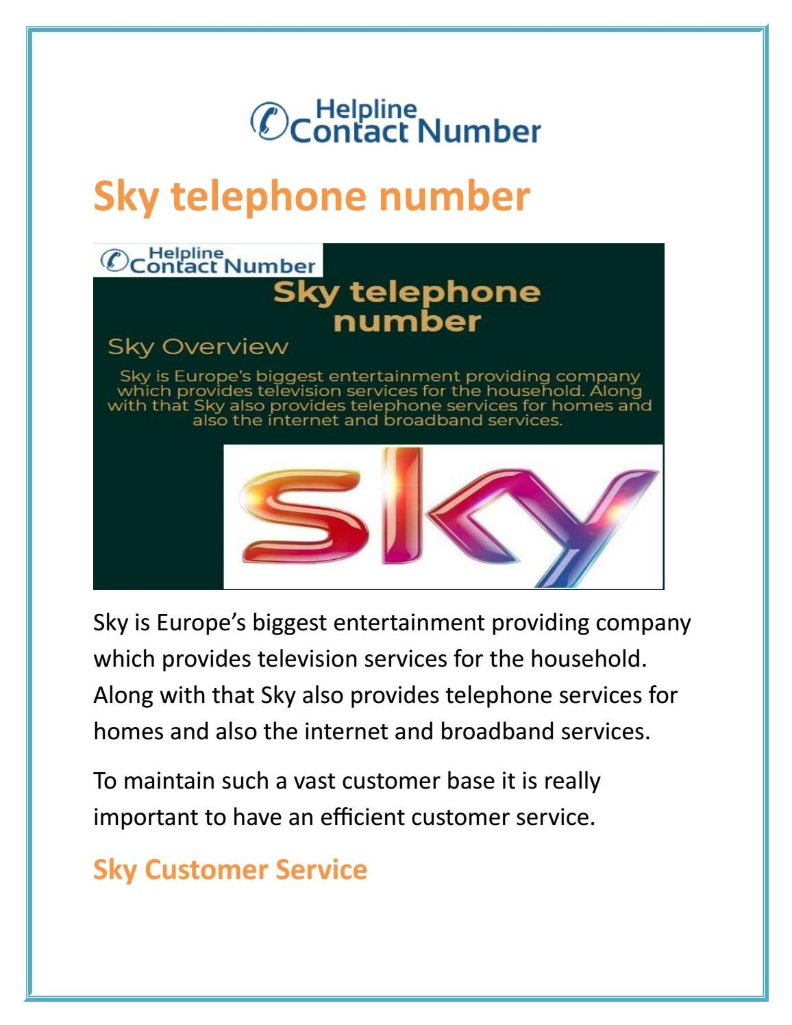 Sky Telephone Number By Pmikepin Issuu