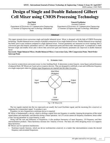 Design of Single and Double Balanced Gilbert Cell Mixer