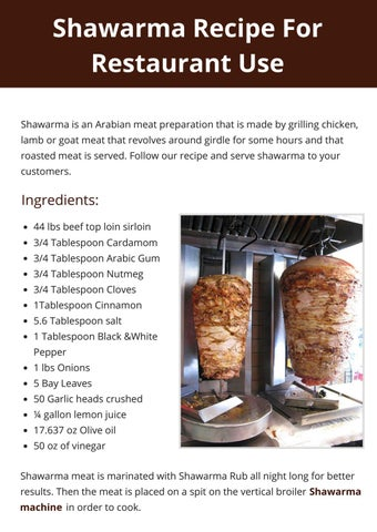Shawarma Recipe for Restaurant Use by Chris - issuu