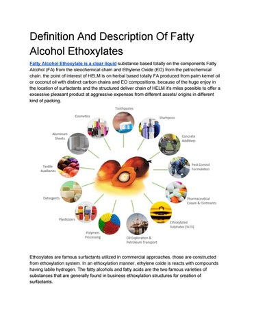 Definition and description of fatty alcohol ethoxylates by