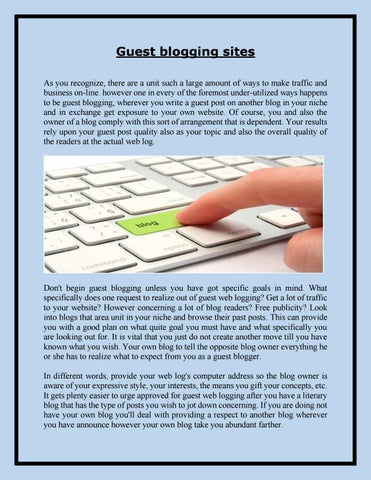 Guest blogging sites by adam bonik - issuu