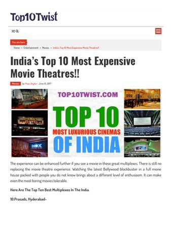 India's top 10 most expensive movie theatres!! by