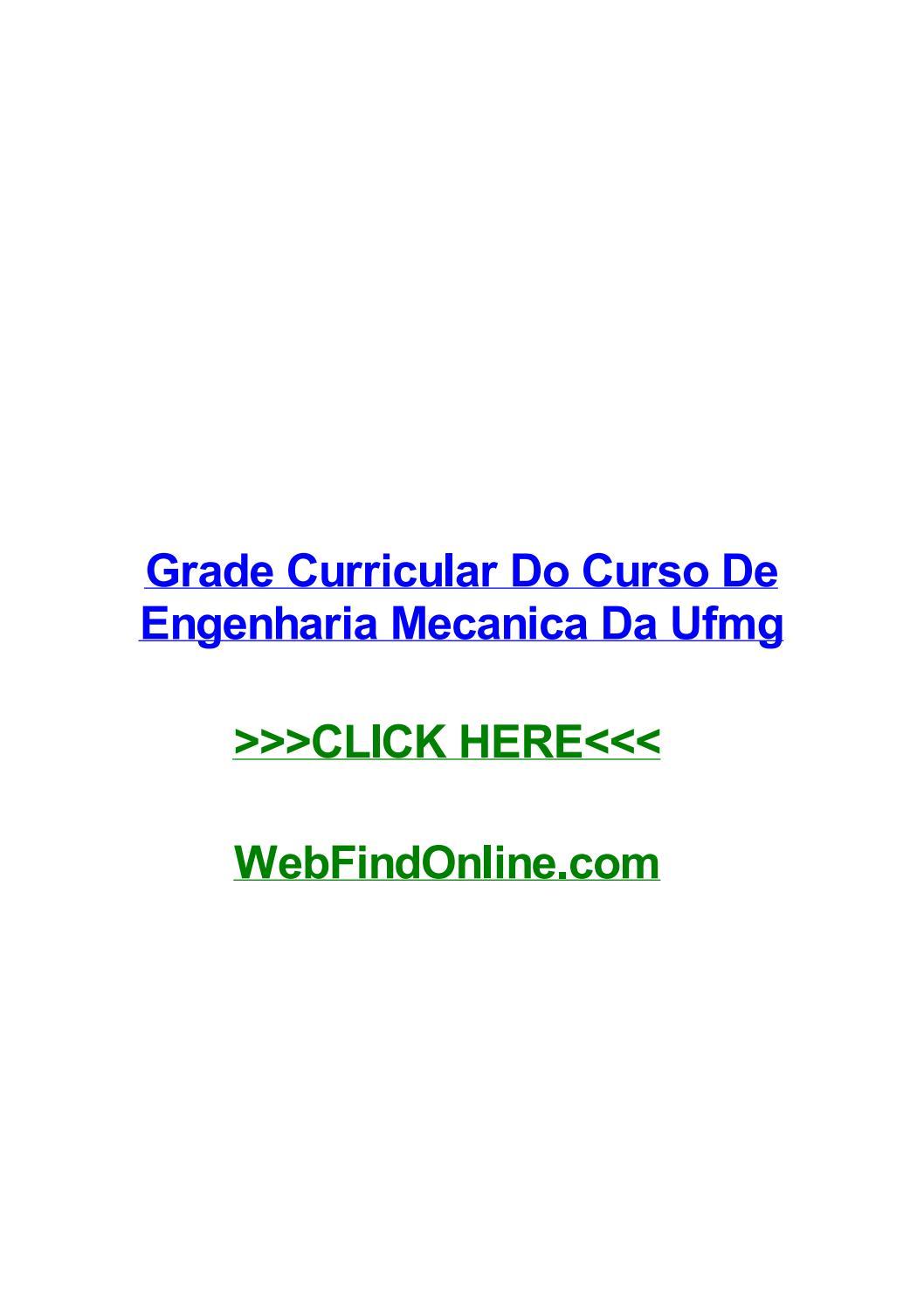 Grade Curricular Do Curso De Engenharia Mecanica Da Ufmg By