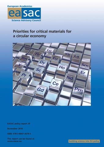 Priorities for critical materials for a circular economy