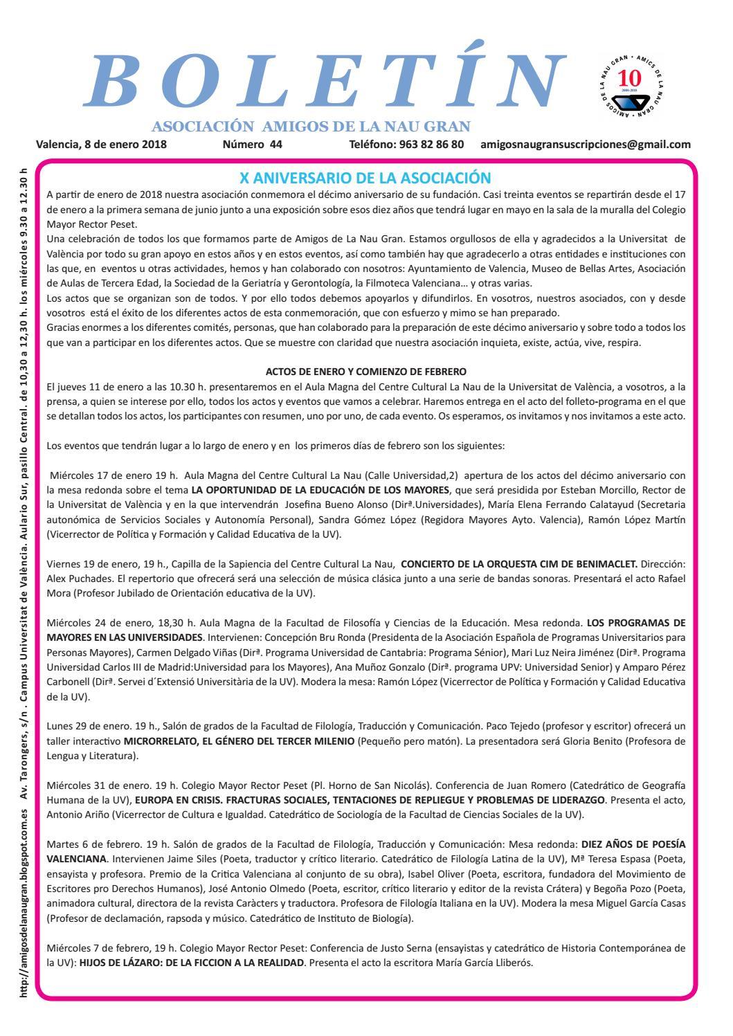 Boletín 44 enero 2018 by Amigos Nau Gran - issuu