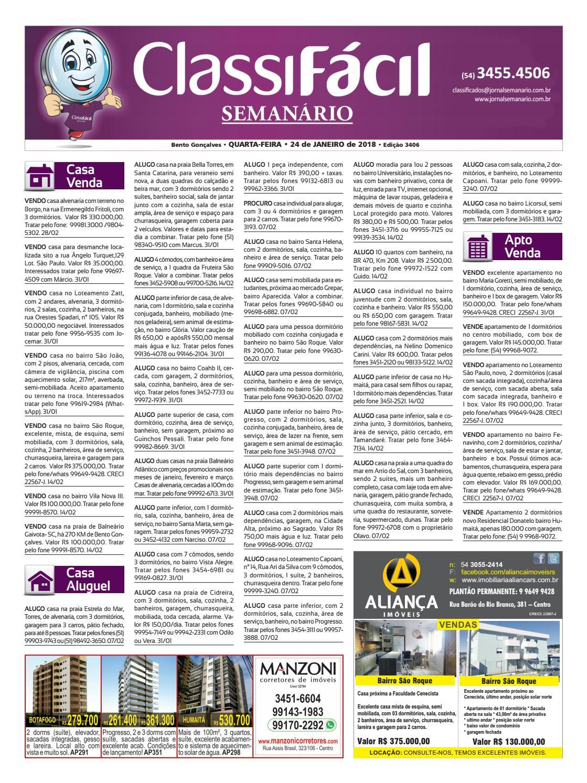 39fb241e18158 ClassiFácil - 24 de janeiro de 2018 by Jornal Semanário - Bento Gonçalves -  RS - issuu