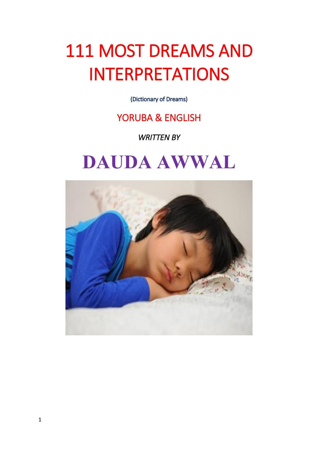111 most dreams and intrepretations by dauda awwal by Awwal