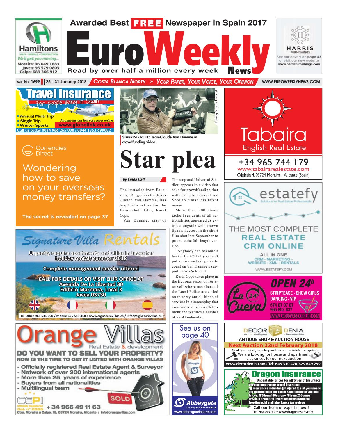 Euro Weekly News - Costa Blanca North 25 - 31 January 2018 Issue 1699