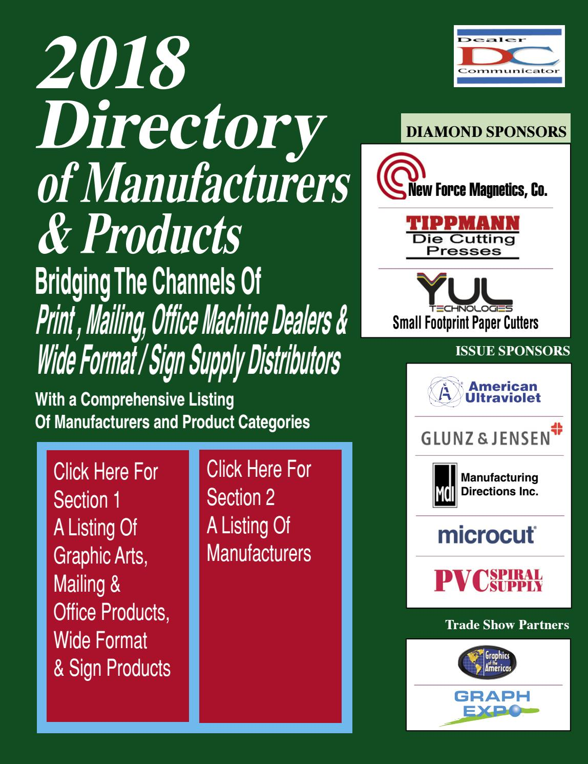 2018 Directory of Manufacturers and Products by Fichera Publications - issuu