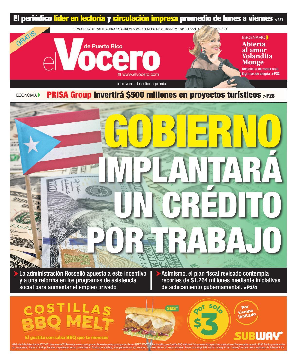 Edición del 25 de enero de 2018 by El Vocero de Puerto Rico - issuu