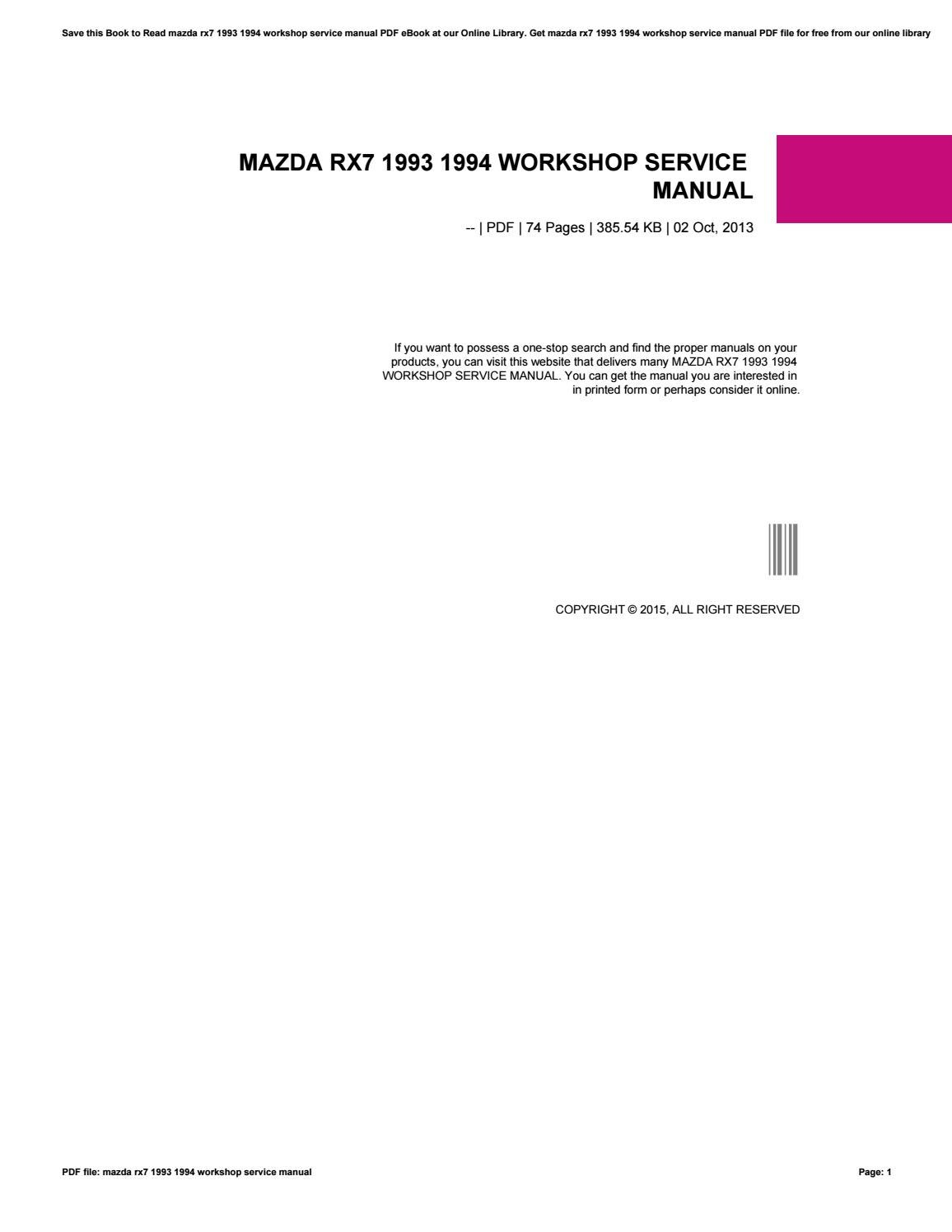 mazda rx7 1993 1994 workshop service manual by kazelink437 issuu rh issuu com 2002 ECU L4 2.2L Wiring-Diagram 83 Mazda B2000 Wiring-Diagram
