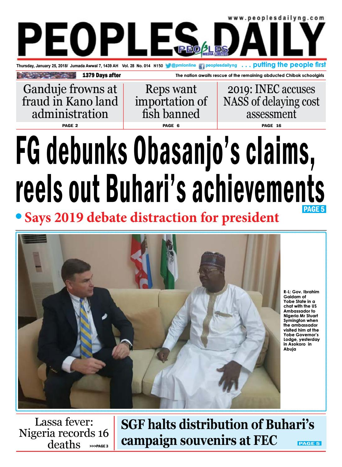 Thursday, January 25, 2018 Edition by Peoples Media Limited