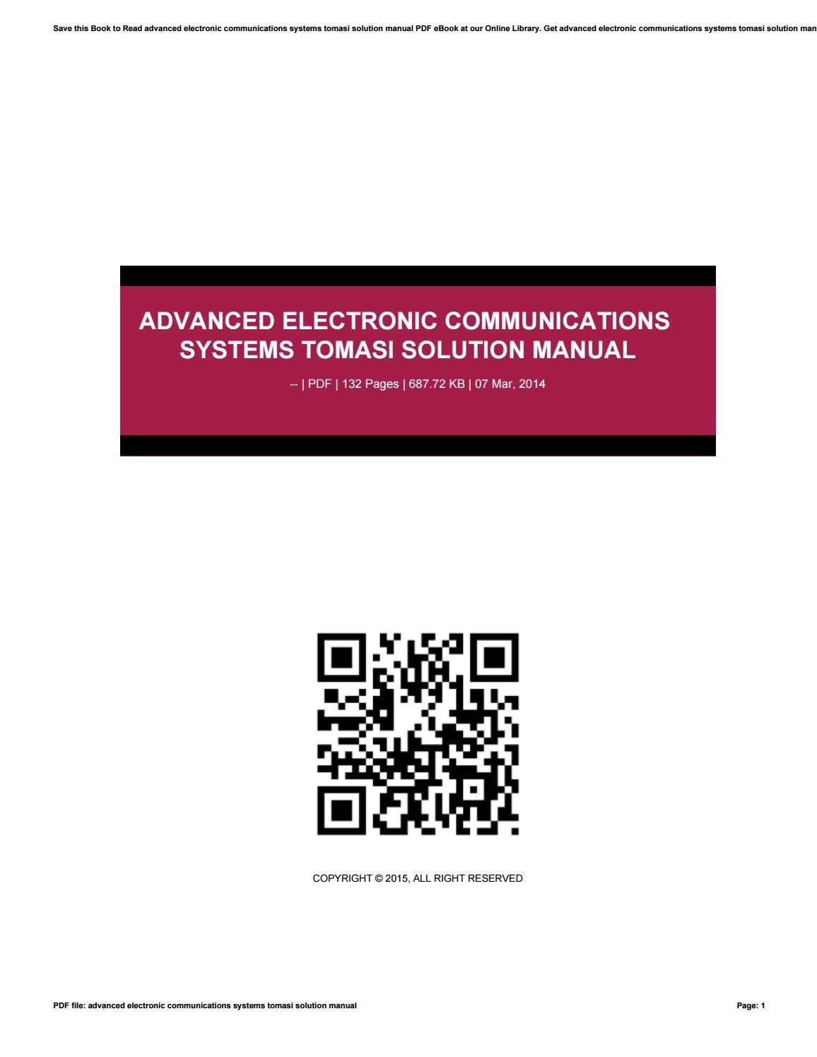 Advanced Electronic Communications Systems Tomasi Solution Manual By Harvard Ac Uk928 Issuu