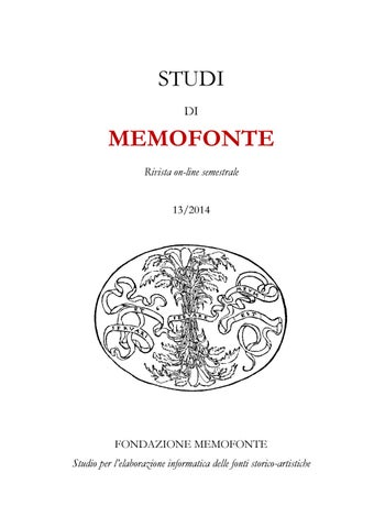 XIII 2014 STUDI DI MEMOFONTE by Fondazione Memofonte Onlus - issuu a48134ec0594