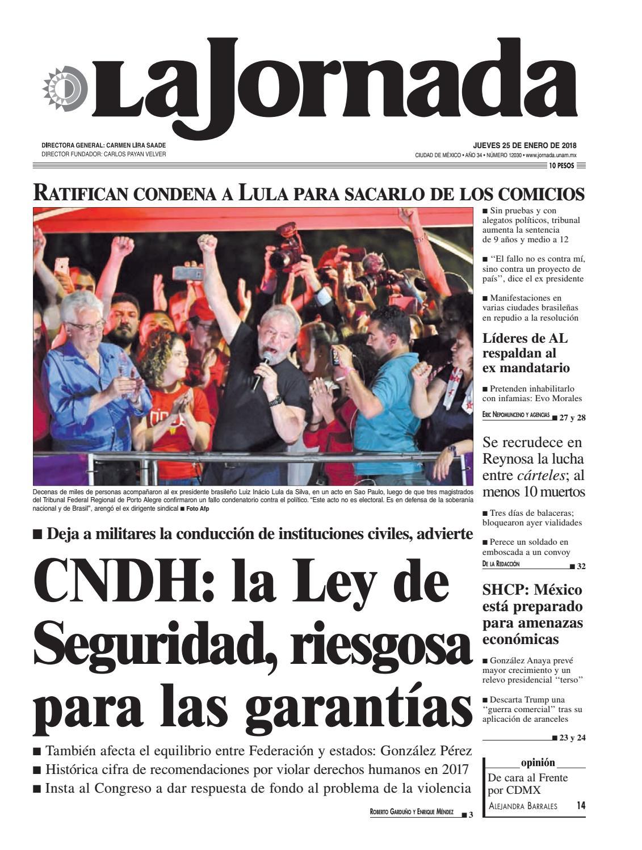 La Jornada, 01/25/2018 by La Jornada: DEMOS Desarrollo de Medios SA de CV -  issuu