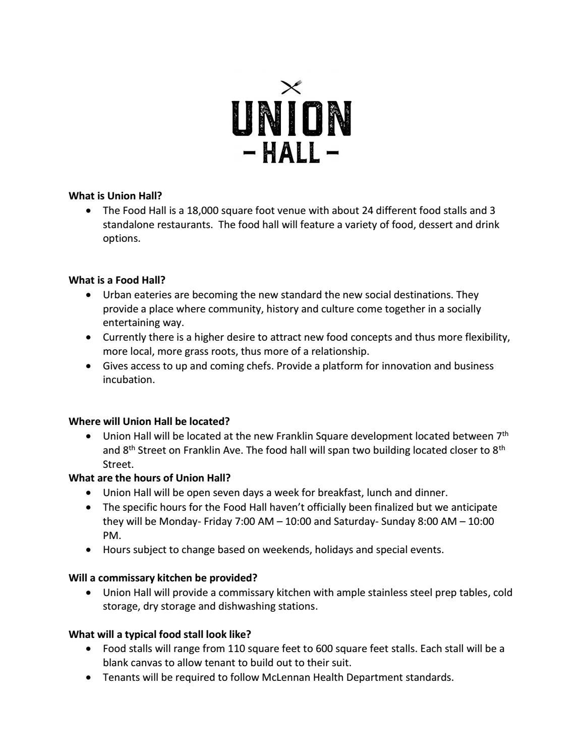 Union hall faq by hannabbraud - issuu