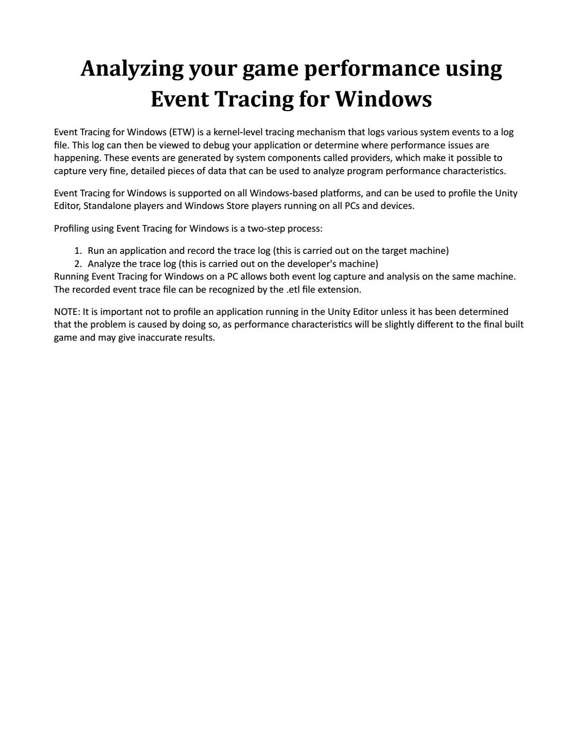 Analyzing your game performance using event tracing for windows