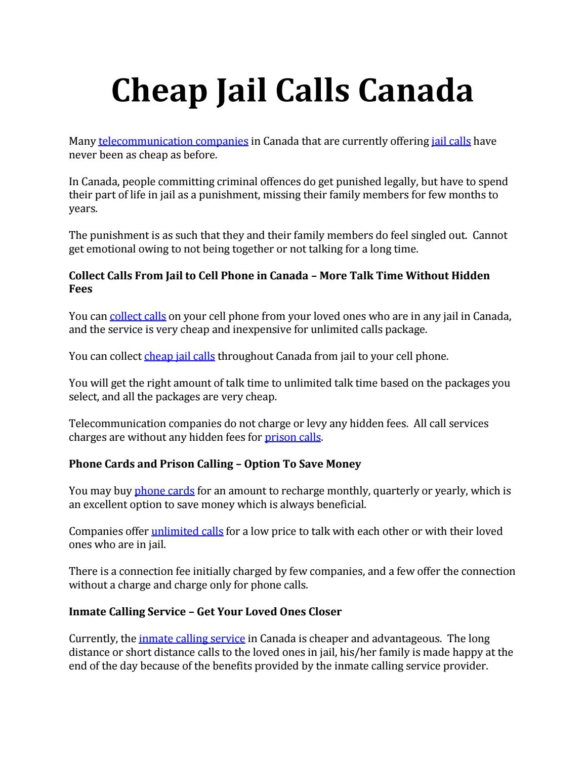 Cheap jail calls canada by FedPhoneLine - issuu