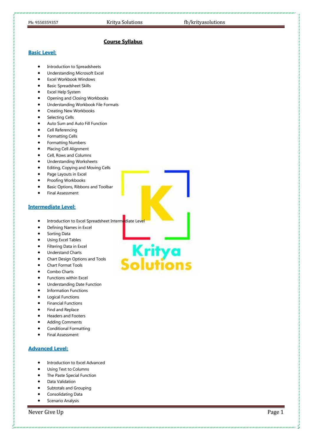 Workbooks microsoft excel workbooks : Advanced excel by Kritya Solutions - issuu