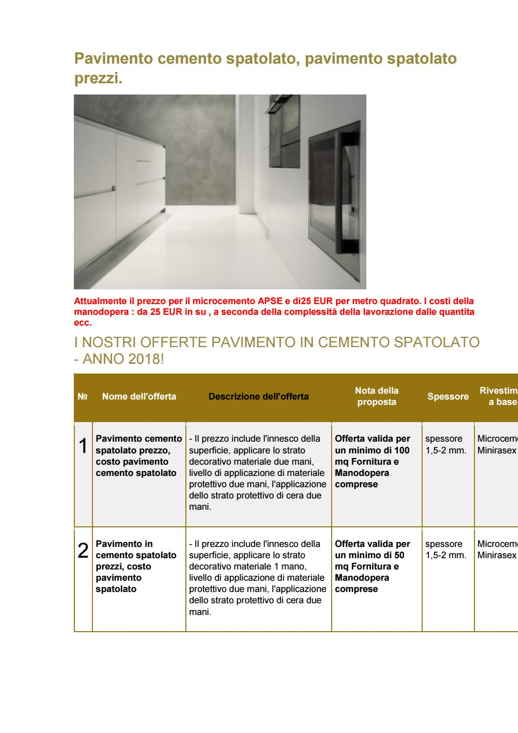 Pavimento In Cemento Prezzi pavimento cemento spatolato prezzi by minirasex - issuu