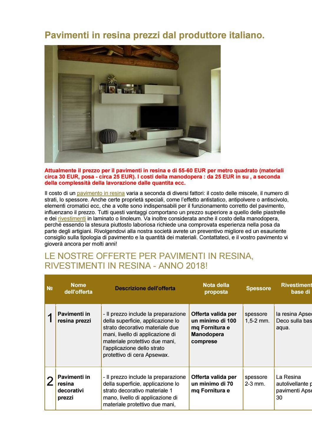 Costo Posa Resina Al Mq.Pavimenti In Resina Prezzi Dal Produttore Italiano By