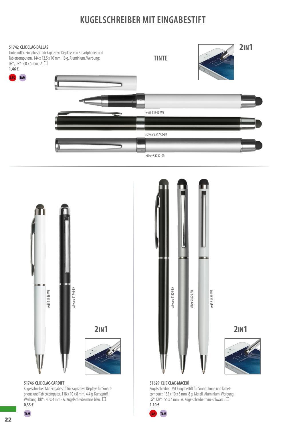 10 x Kugelschreiber aus Metall in Schwarz