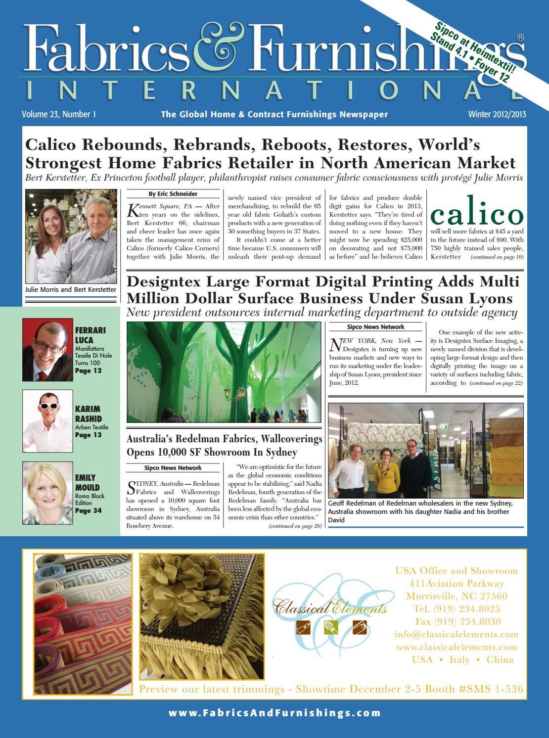 Fabrics & Furnishings - Winter 2012 Issue by Fabrics & Furnishings