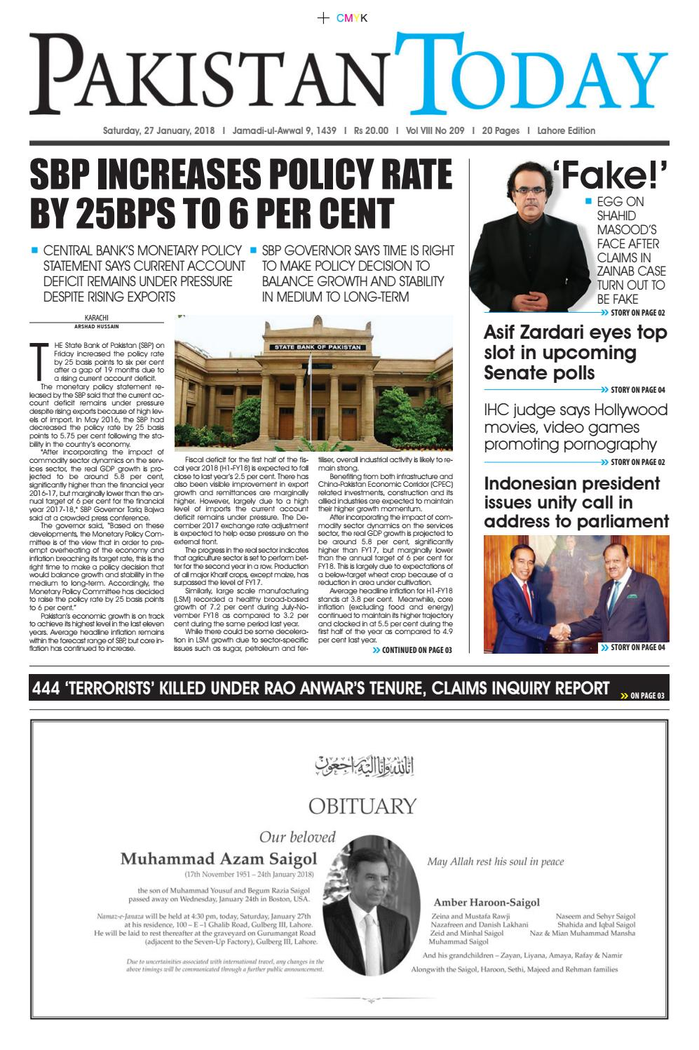 E paper pdf 27th january (lhr) by Pakistan Today - issuu