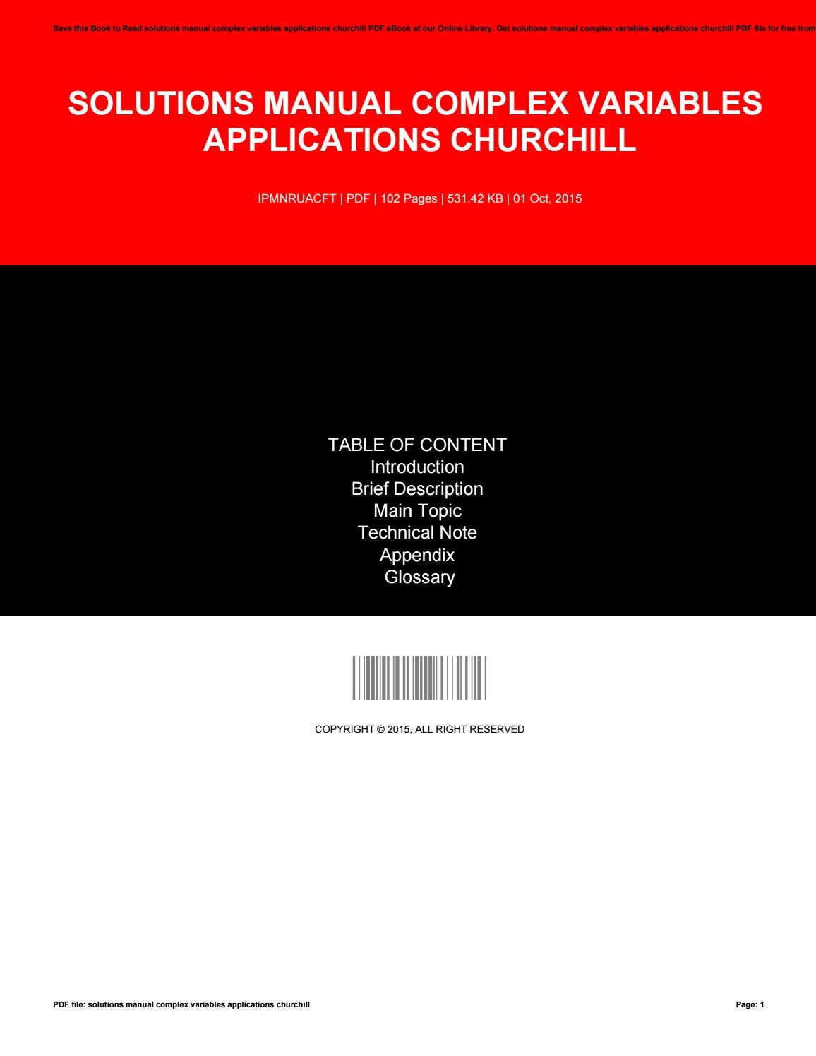 Solutions manual complex variables applications churchill by mailed619 -  issuu