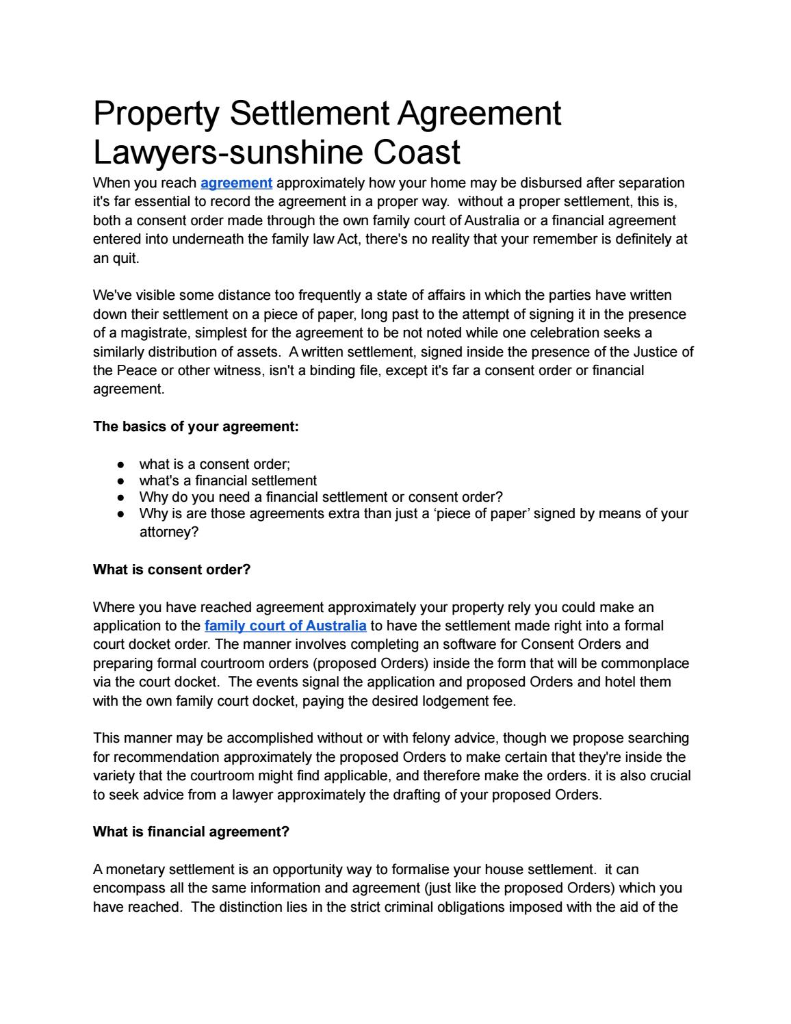 Property Settlement Agreement Lawyers Sunshine Coast By Baker