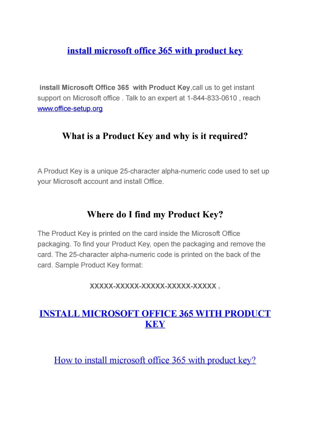 where do i find my office 365 product key