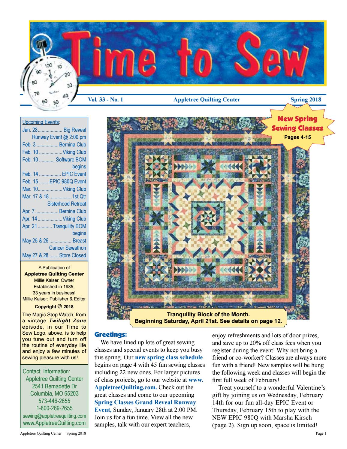 Appletree Quilting Center's Spring 2018 Newsletter by